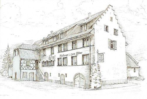 Gasthaus Adler - Zeichnung des Gasthauses