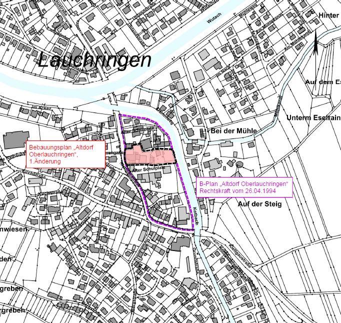 Abbildung des Bebauungsgebietes Bebauungsplan
