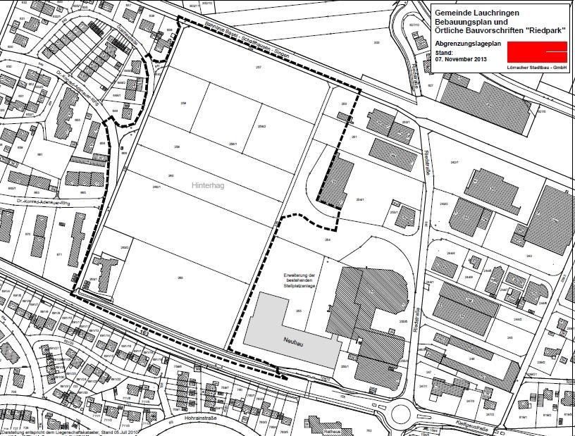 Abbildung des Bebauungsgebietes 2. Änderung des Bebauungsplanes Riedpark (Offenlage)